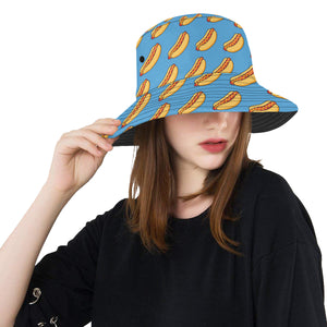 Hot Dog Pattern Print Design 02 Unisex Bucket Hat