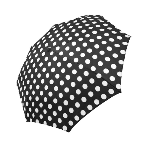 Polka Dot Black White Pattern Print Design 03 Automatic Foldable Umbrella