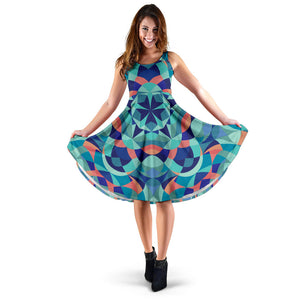 Kaleidoscope Pattern Print Design 03 Sleeveless Mini Dress