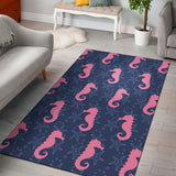 SeaHorse Pink Pattern Print Design 02 Area Rug