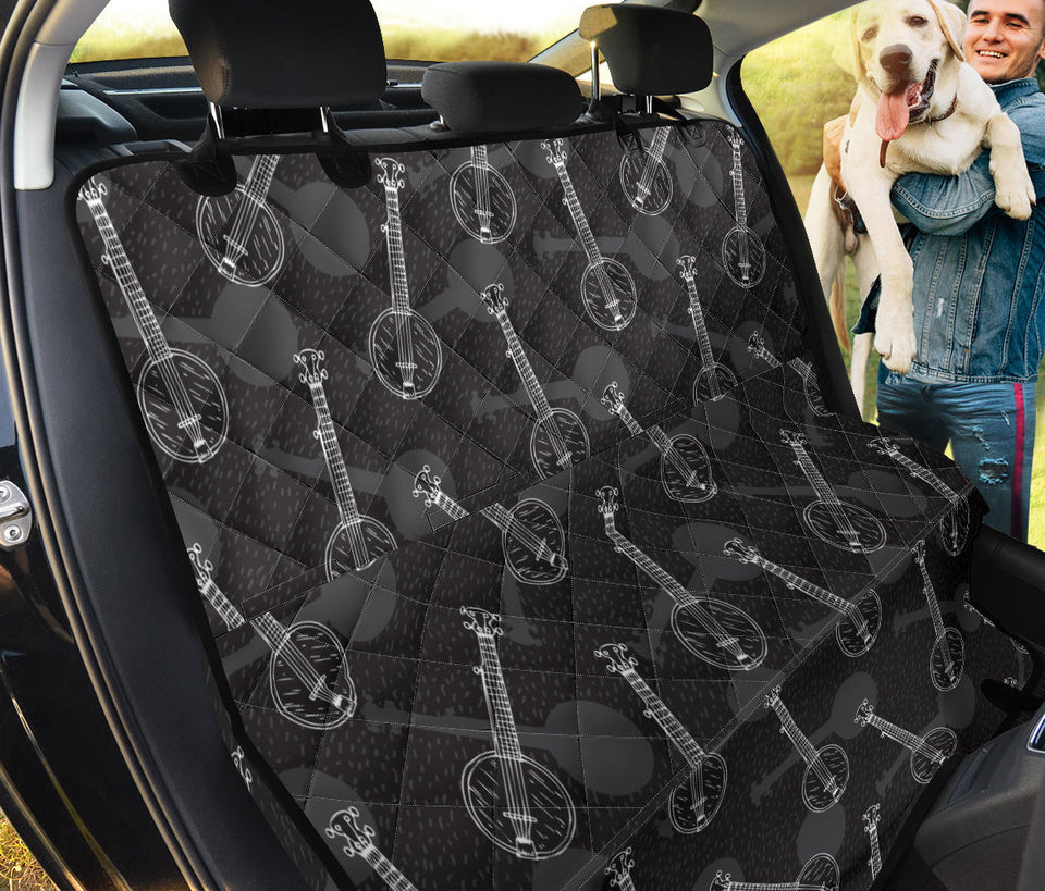 Banjo Pattern Print Design 03 Rear Dog Car Seat Cover Hammock