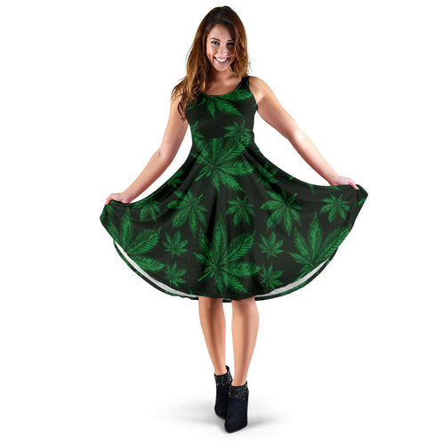 Pot Leaf Pattern Print Design A04 Sleeveless Mini Dress