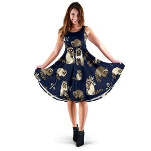 Raccoon Pattern Print Design A06 Sleeveless Mini Dress