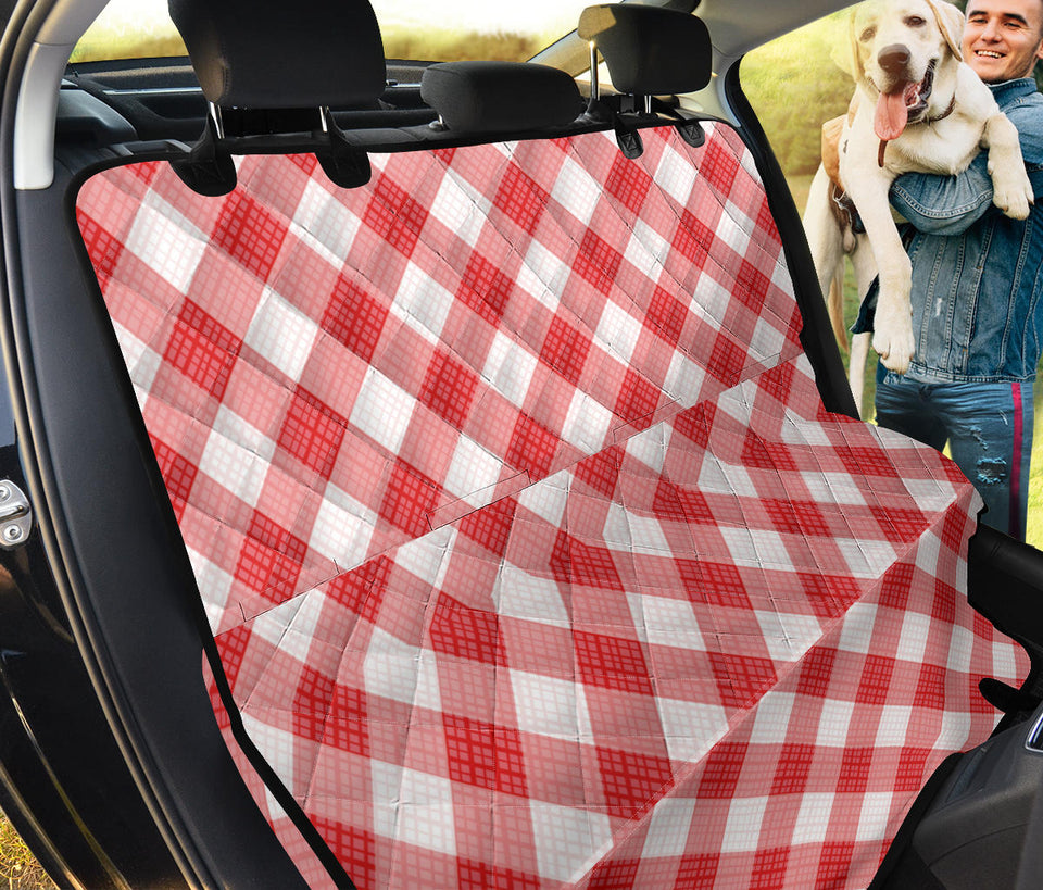 Gingham Red Pattern Print Design 01 Rear Dog Car Seat Cover Hammock