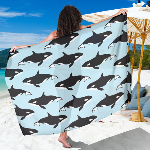 Killer Whale Pattern Print Design 01 Sarong Pareo Wrap