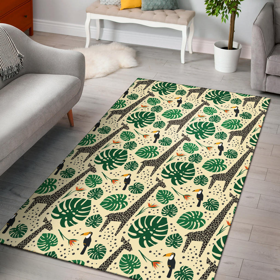 Rainforest Giraffe Pattern Print Design A02 Area Rug