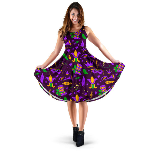 Mardi Gras Pattern Print Design 08 Sleeveless Mini Dress