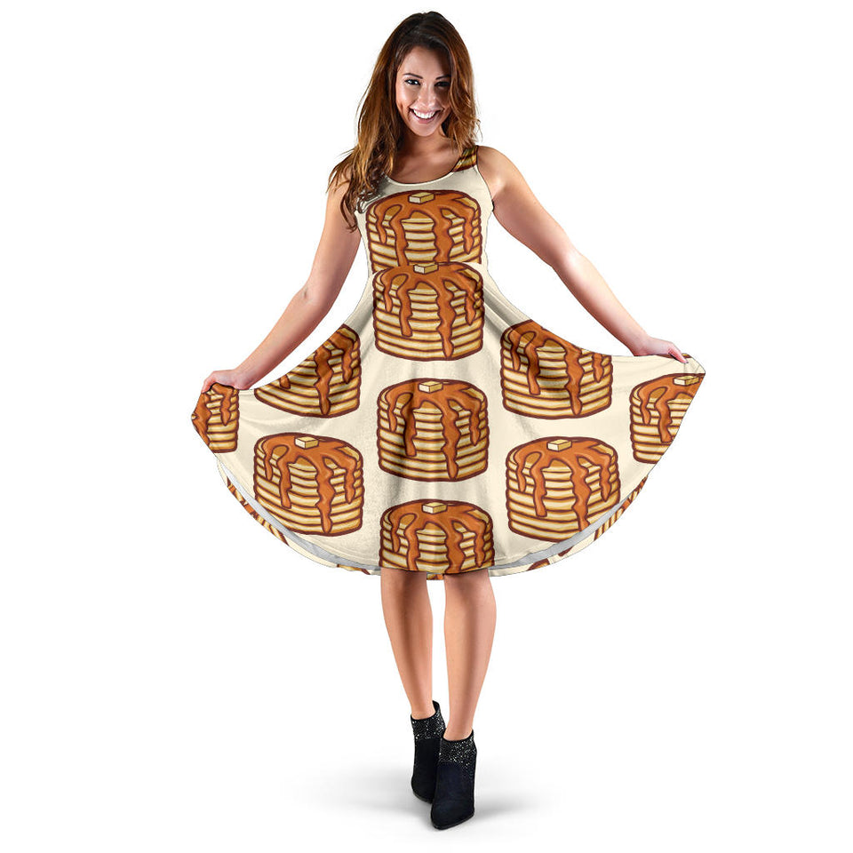 Pancake Pattern Print Design A02 Sleeveless Mini Dress
