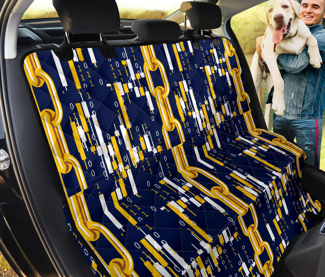 Cryptocurrency Chain Pattern Print Design 03 Rear Dog Car Seat Cover Hammock