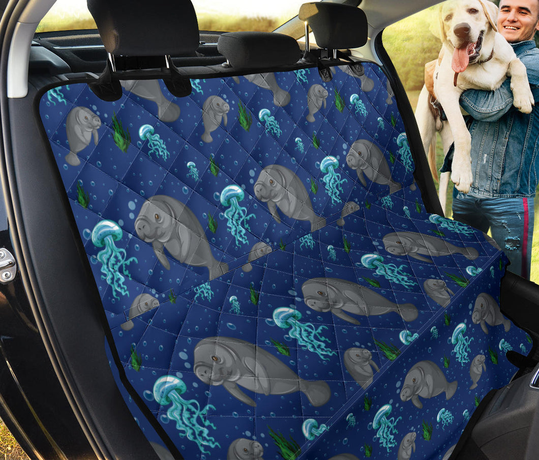 Manatee Pattern Print Design 01 Rear Dog Car Seat Cover Hammock