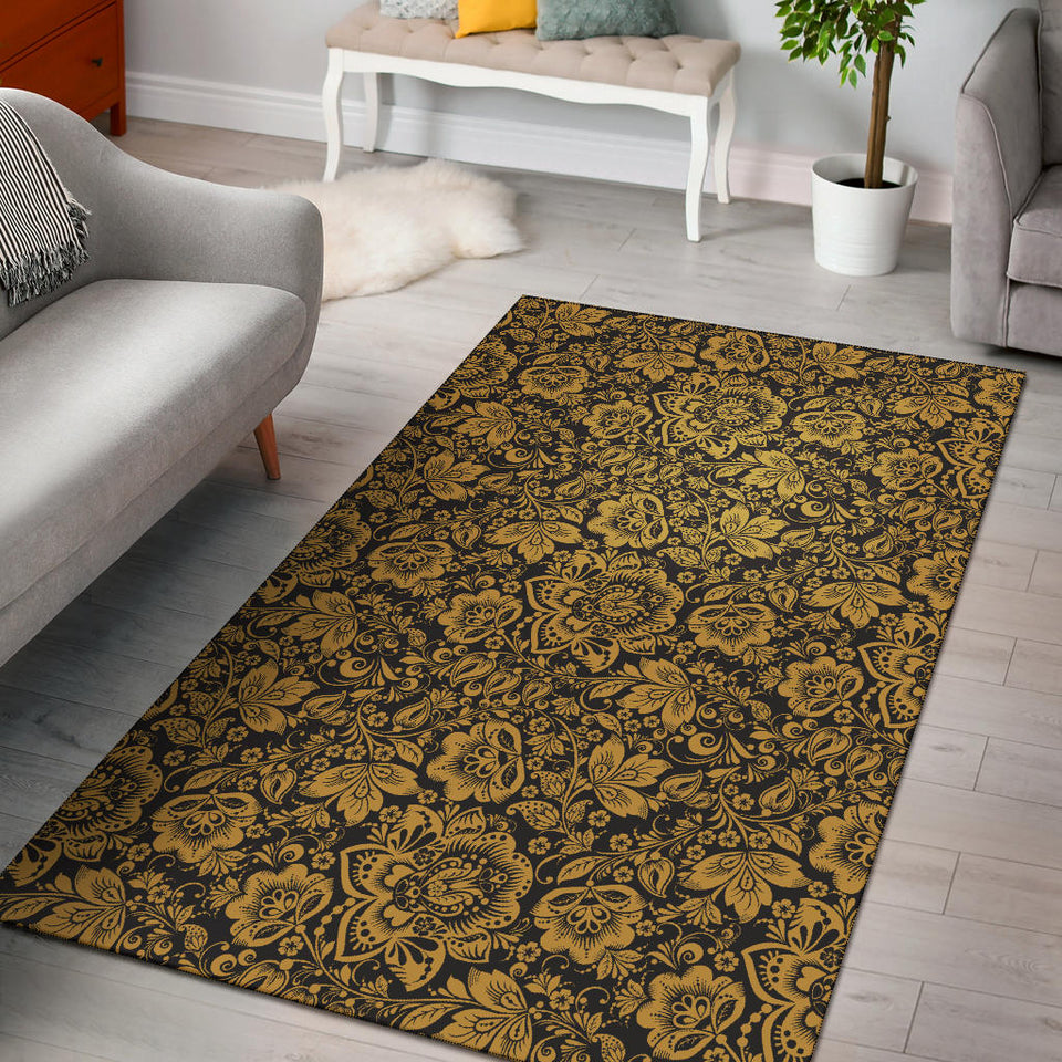 Brocade Gold Pattern Print Design 01 Area Rug