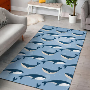 Blue Whale Pattern Print Design 02 Area Rug