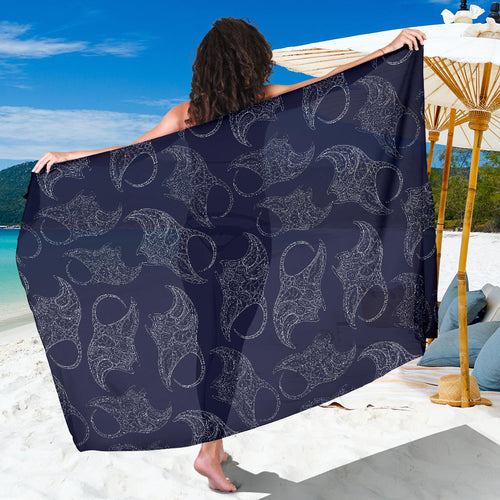 Manta Ray Pattern Print Design 01 Sarong Pareo Wrap