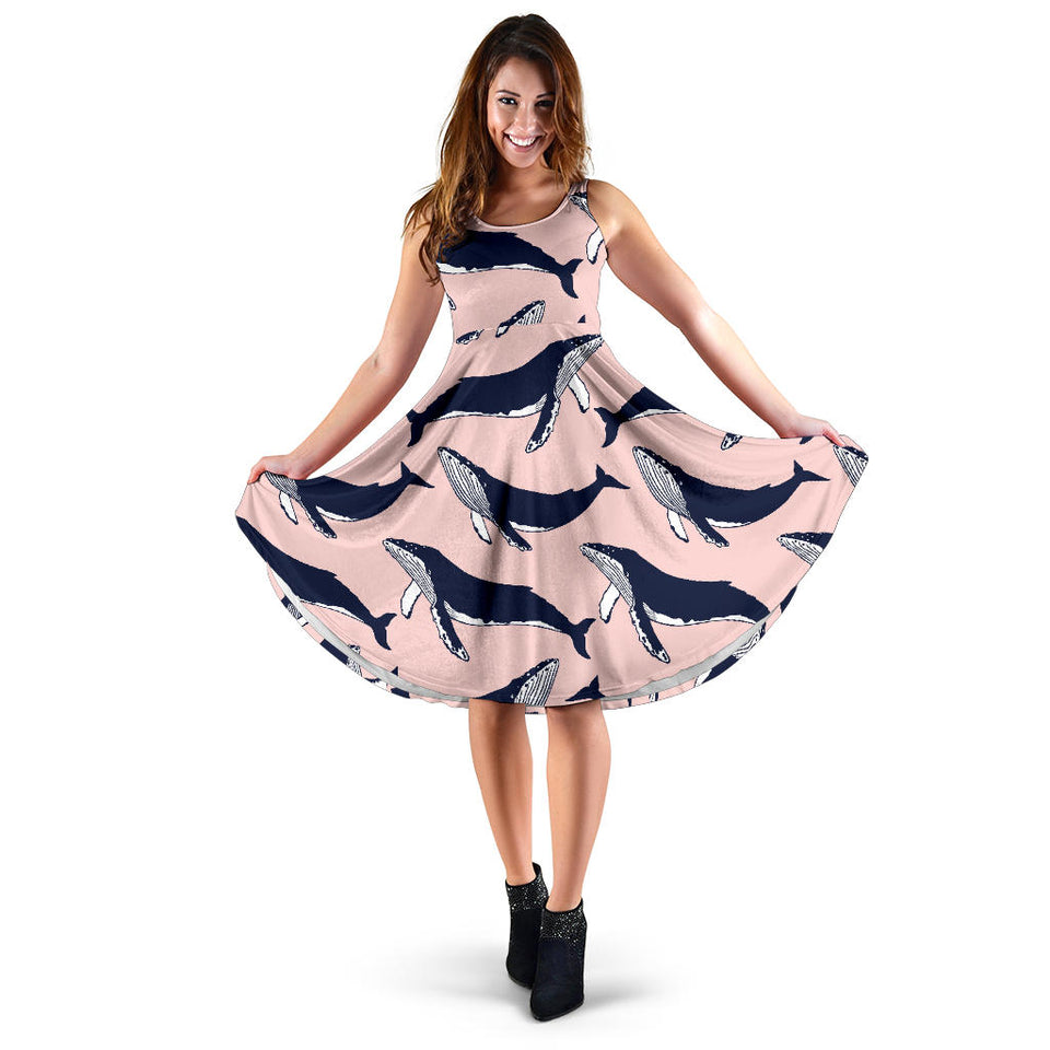 Humpback Whale Pattern Print Design 02 Sleeveless Mini Dress