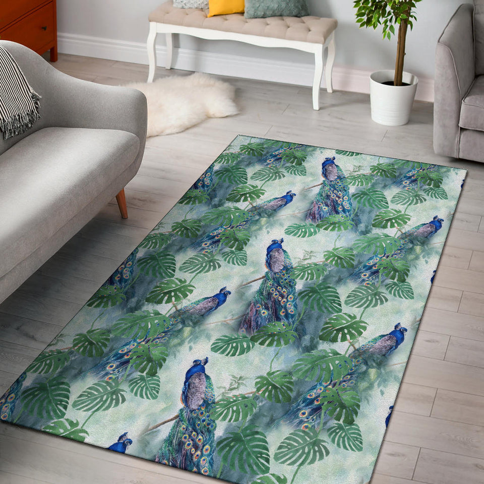 Peacock Pattern Print Design A02 Area Rug