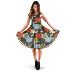 Guinea Fowl Pattern Print Design 02 Sleeveless Mini Dress