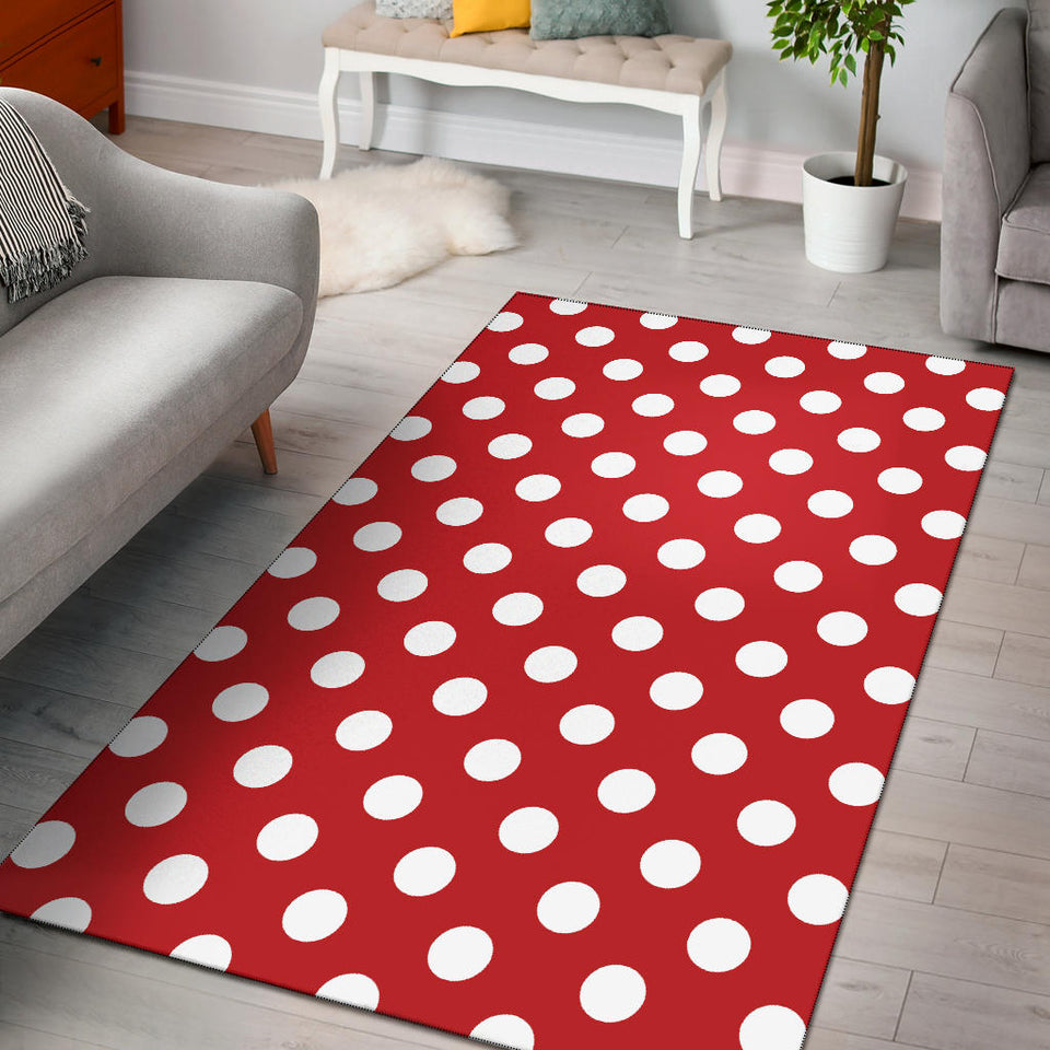 Polka Dot Red Pattern Print Design 04 Area Rug
