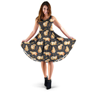Capybara Pattern Print Design 02 Sleeveless Mini Dress