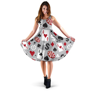 Casino Pattern Print Design 01 Sleeveless Mini Dress