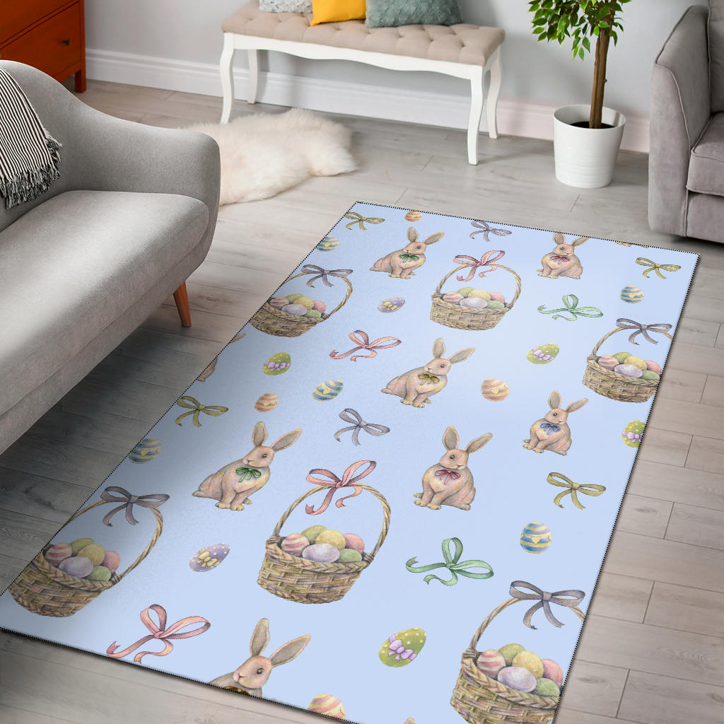 Rabbit Easter Eggs Pattern Print Design 03 Area Rug