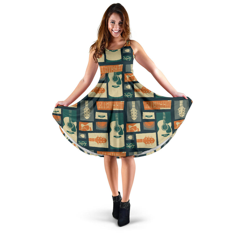 Acoustic Guitar Pattern Print Design 02 Sleeveless Mini Dress