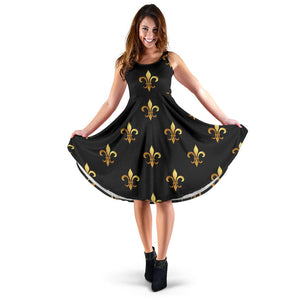 Fleur De Lis Gold Pattern Print Design 03 Sleeveless Mini Dress
