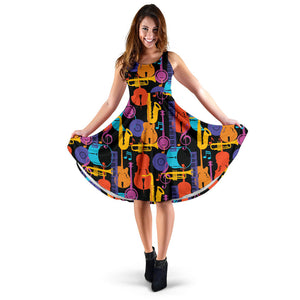Jazz Pattern Print Design 03 Sleeveless Mini Dress
