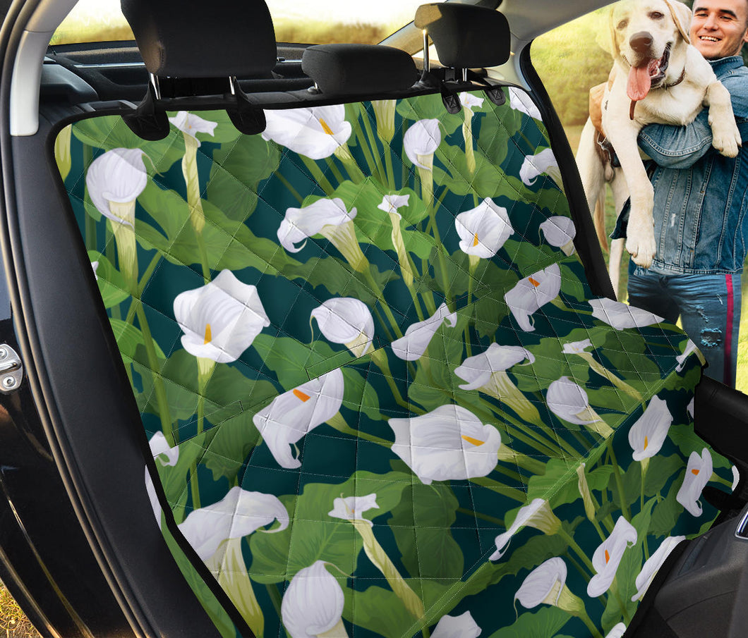 Lily Pattern Print Design 04 Rear Dog Car Seat Cover Hammock