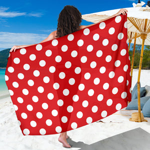 Polka Dot Red Pattern Print Design 04 Sarong Pareo Wrap