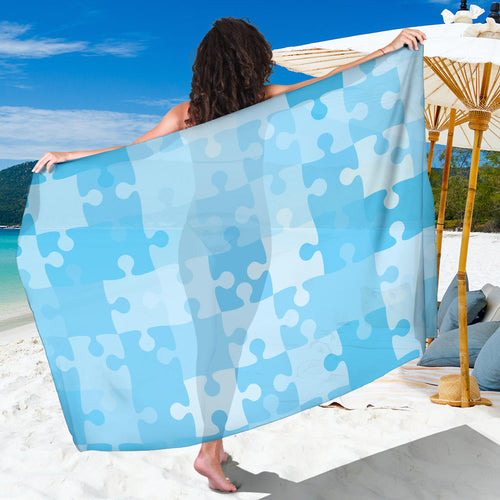 Puzzle Blue Pattern Print Design A04 Sarong Pareo Wrap