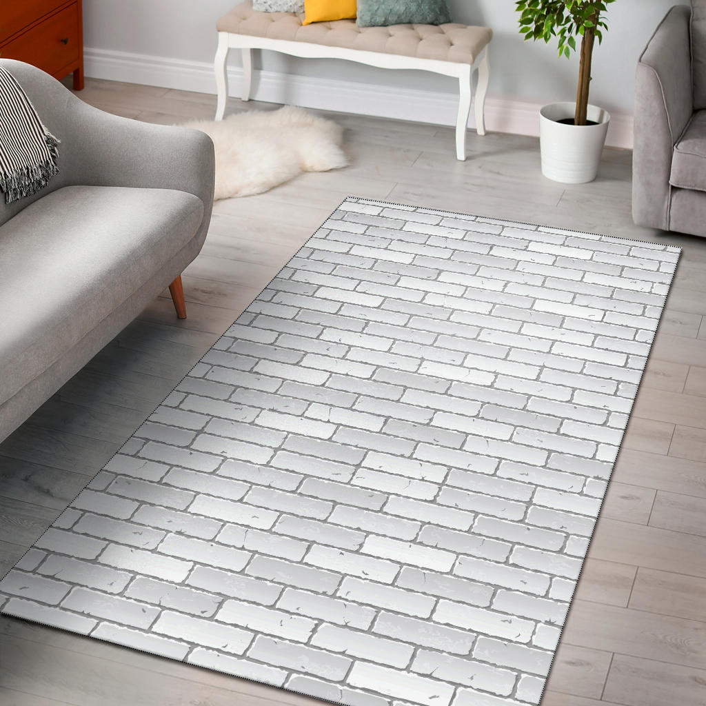 Brick White Pattern Print Design 03 Area Rug