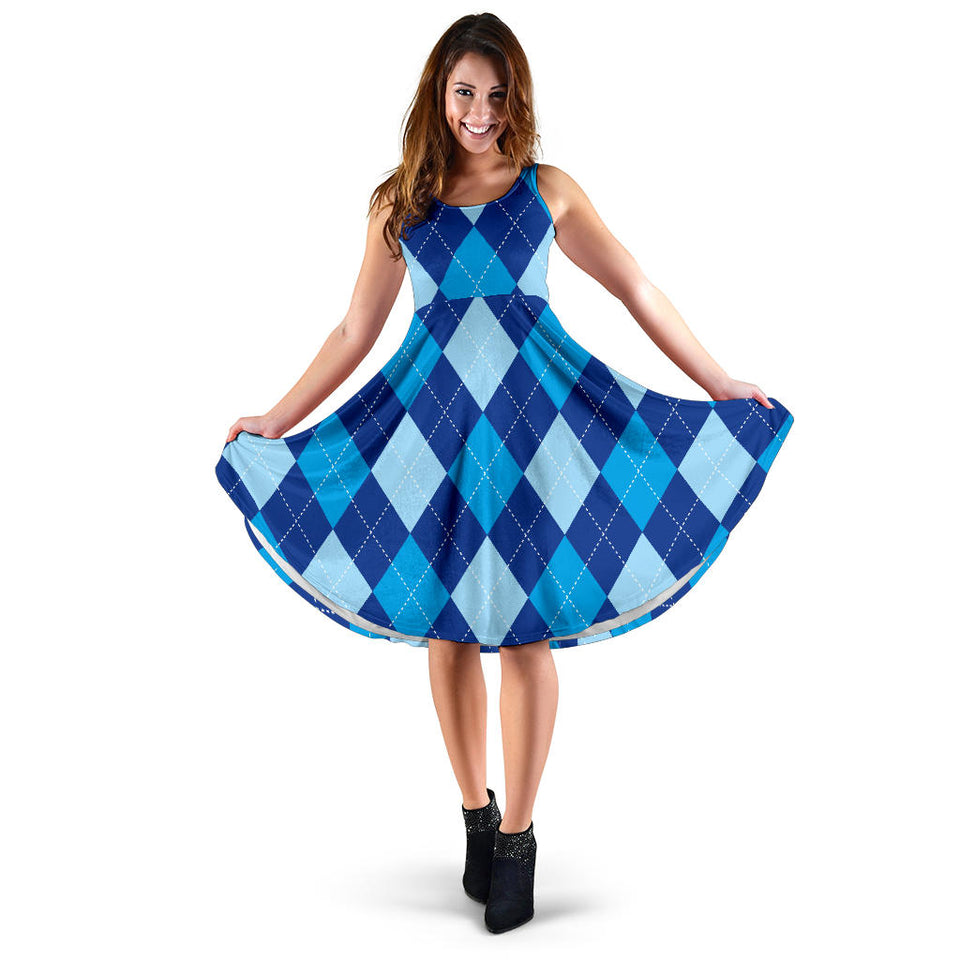 Argyle Blue Pattern Print Design 02 Sleeveless Mini Dress
