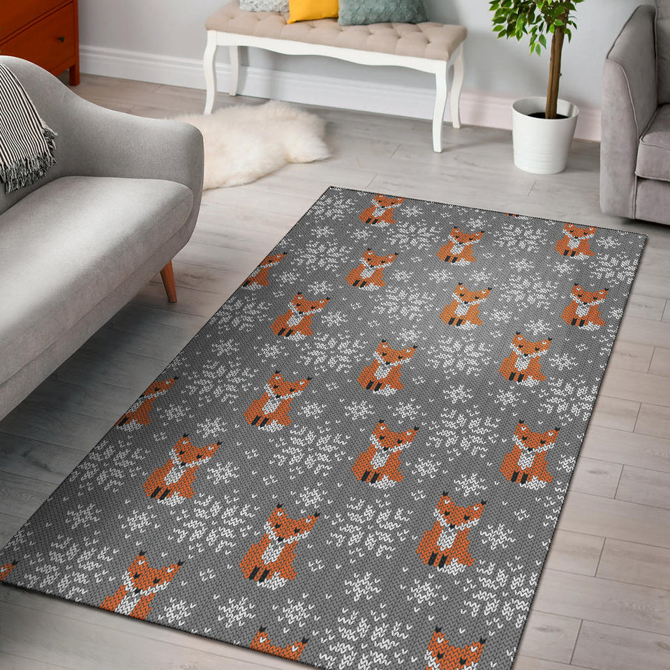 Knit Red Fox Pattern Print Design 02 Area Rug