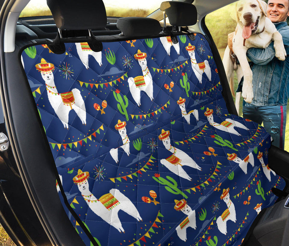 Llama Cactus Pattern Print Design 05 Rear Dog Car Seat Cover Hammock