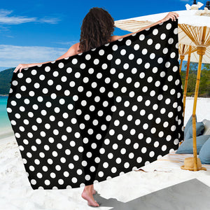 Polka Dot Black White Pattern Print Design 03 Sarong Pareo Wrap
