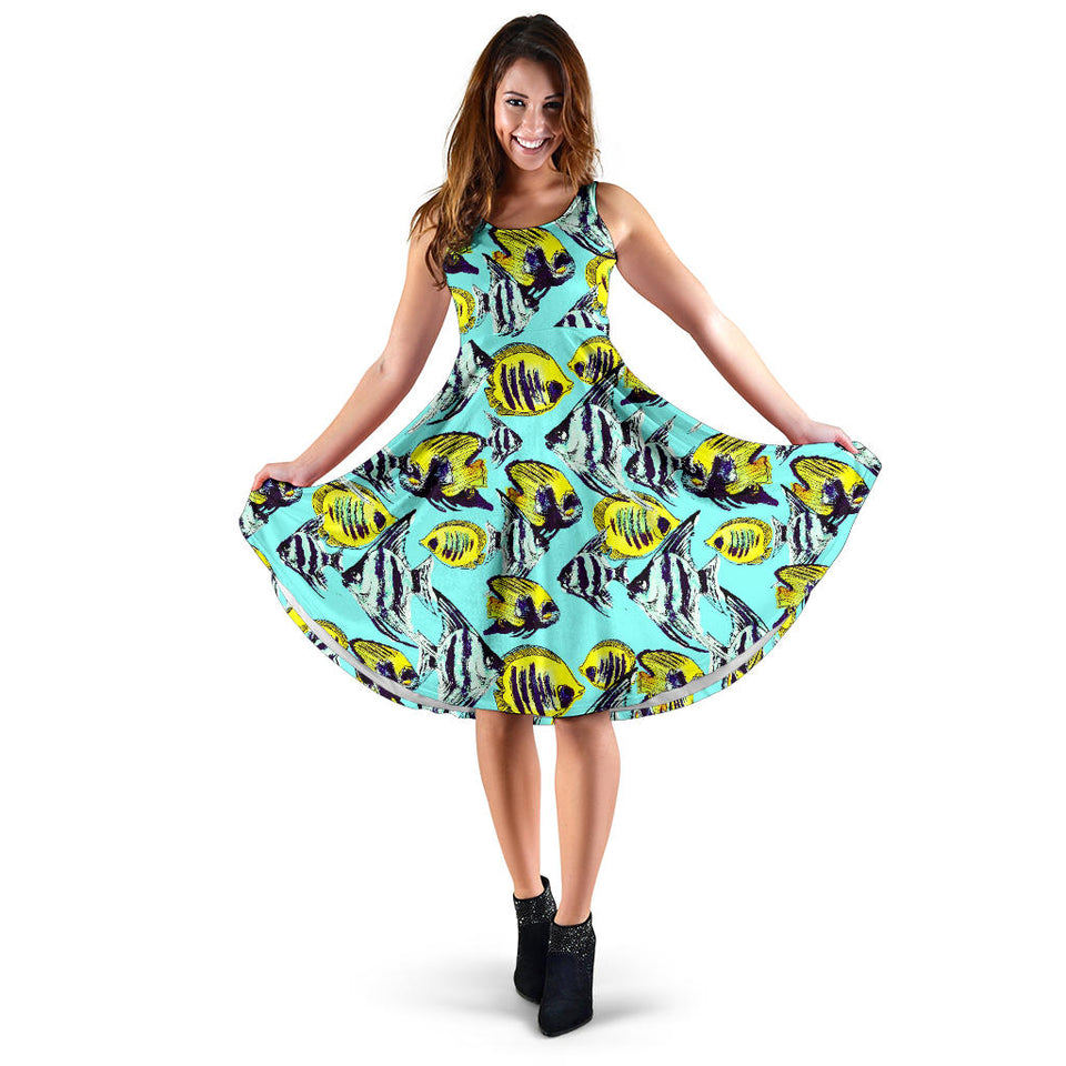 Angelfish Pattern Print Design 02 Sleeveless Mini Dress