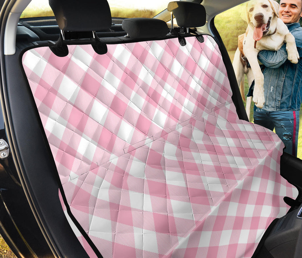 Gingham Pink Pattern Print Design 02 Rear Dog Car Seat Cover Hammock