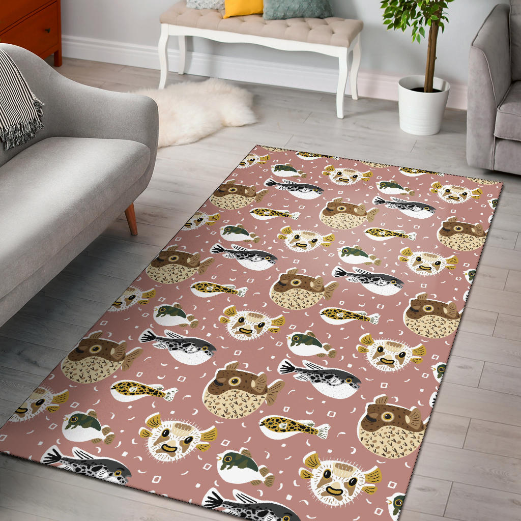 Fugu Cute Pattern Print Design 01 Area Rug