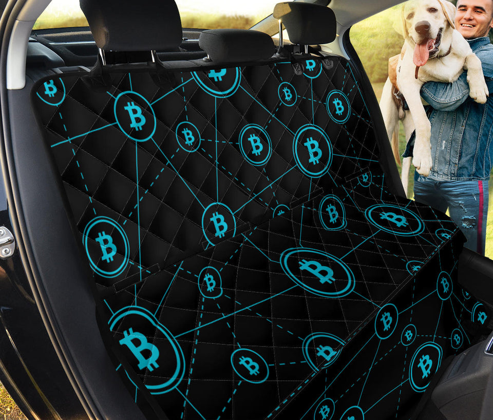 Cryptocurrency Pattern Print Design 01 Rear Dog Car Seat Cover Hammock