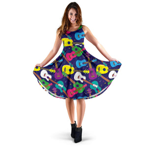 Ukulele Pattern Print Design 02 Sleeveless Mini Dress
