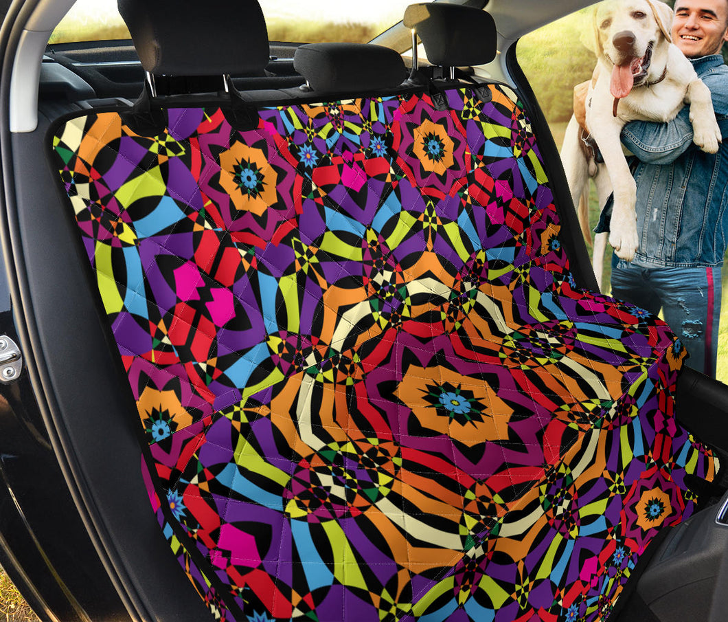 Kaleidoscope Pattern Print Design 01 Rear Dog Car Seat Cover Hammock