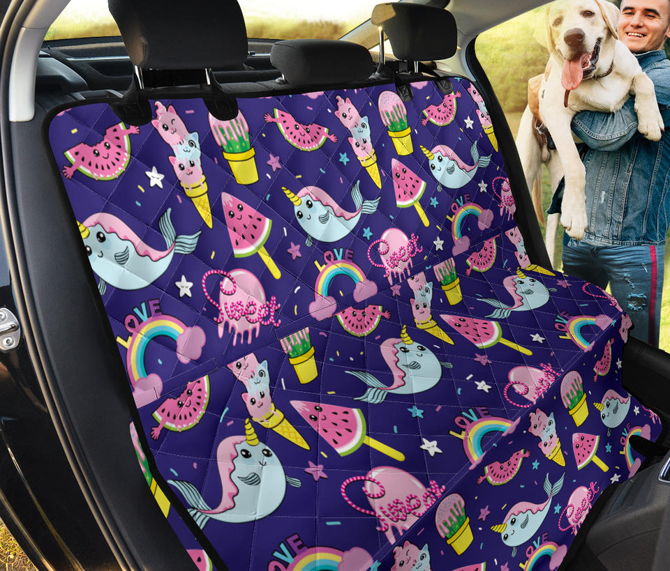 Narwhal Cute Pattern Print Design 02 Rear Dog Car Seat Cover Hammock