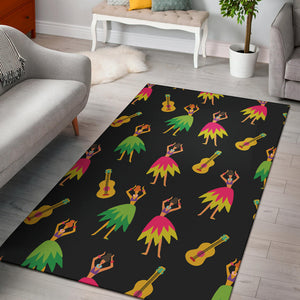 Hula Dancers Hawaiian Girl Pattern Print Design 03 Area Rug