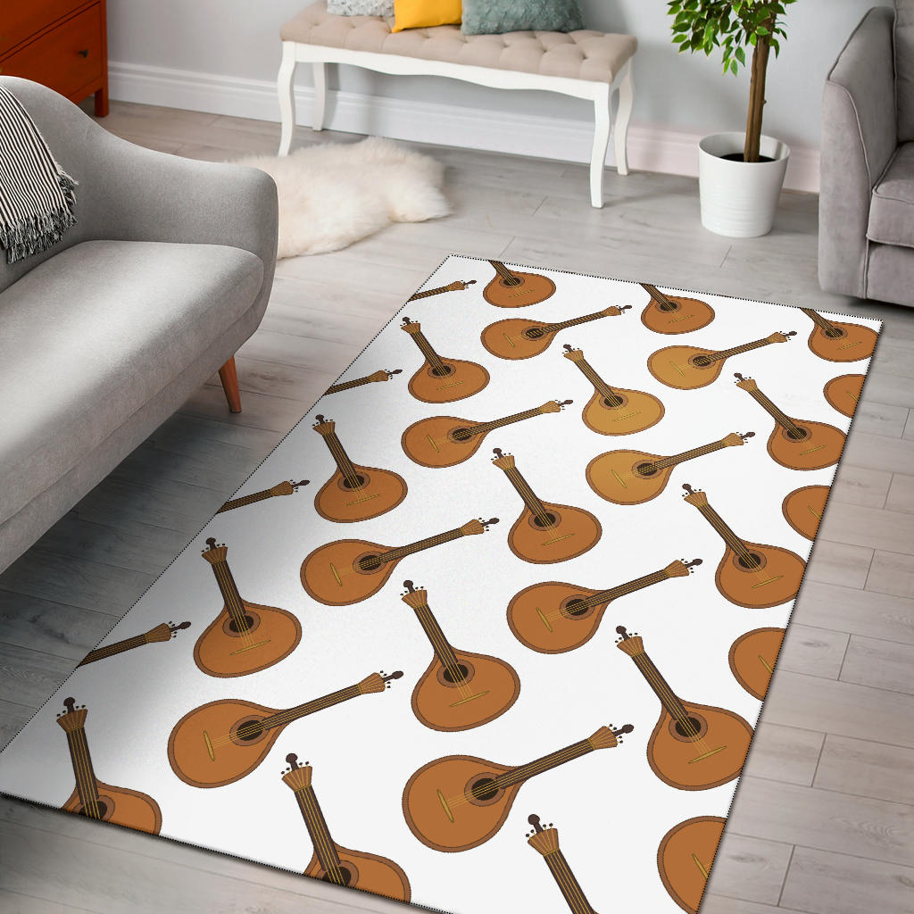 Mandolin Pattern Print Design 01 Area Rug