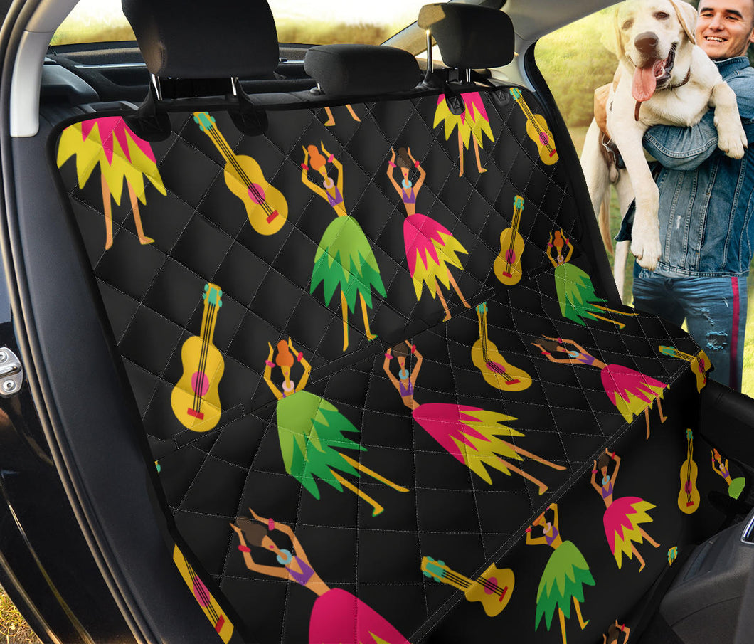 Hula Dancers Hawaiian Girl Pattern Print Design 03 Rear Dog Car Seat Cover Hammock