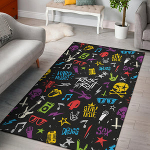 Rock and Roll Pattern Print Design A02 Area Rug