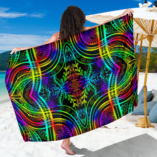 Neon Trible Rainbow Pattern Print Design A01 Sarong Pareo Wrap