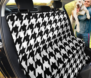 Houndstooth Black White  Pattern Print Design 05 Rear Dog Car Seat Cover Hammock