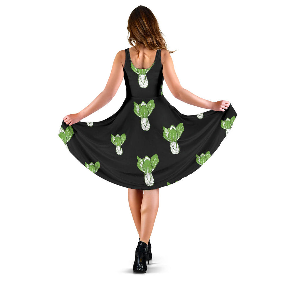 Kale Pattern Print Design 02 Sleeveless Mini Dress