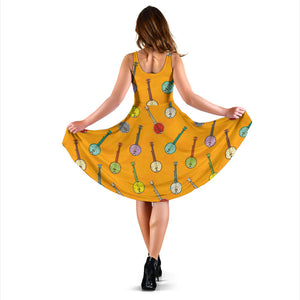 Banjo Pattern Print Design 02 Sleeveless Mini Dress